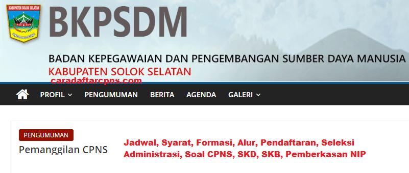 Pendaftaran Cpns Kabupaten Solok Selatan 2019 Jadwal Syarat Soal