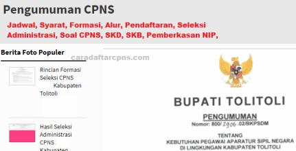 Pengumuman CPNS Kabupaten Tolitoli 2021 Lulusan SMA SMK D3 S1 S2