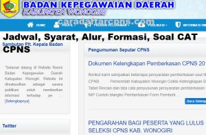 Pengumuman Hasil SKB CPNS Kabupaten Wonogiri Formasi 2019