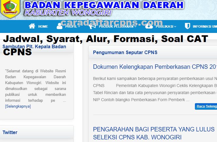 Pengumuman Hasil SKD CPNS KABUPATEN WONOGIRI 2021