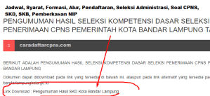 Jadwal SKB CPNS Kota Bandar Lampung 2019 2020