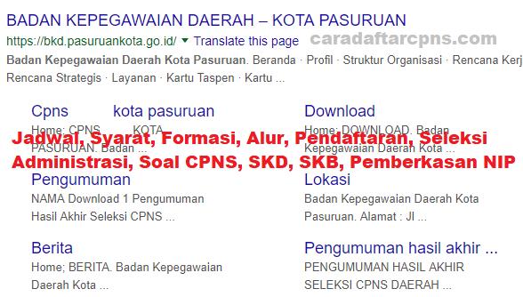 Hasil Seleksi Administrasi CPNS Pemkot Pasuruan 2021