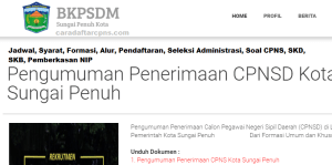 Jadwal Pendaftaran CPNS Kota Sungai Penuh 2021 Lulusan SMA SMK D3 S1 S2