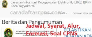 Jadwal Pendaftaran CPNS Pemkot Yogyakarta 2021 Lulusan SMA SMK D3 S1 S2