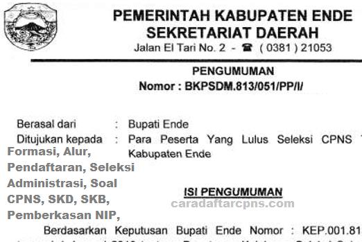 Pengumuman Hasil Akhir CPNS Kabupaten Ende Formasi 2019