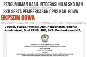 Pengumuman CPNS Kabupaten Gowa 2021 Lulusan SMA SMK D3 S1 S2