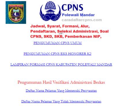 Pengumuman CPNS Kabupaten Polewali Mandar 2021 Lulusan SMA SMK D3 S1 S2