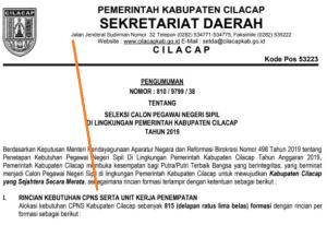Jadwal SKB CPNS Kabupaten Cilacap 2019 2020