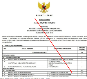 Pengumuman Hasil SKB CPNS Kabupaten Lebak Formasi 2019