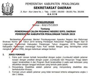 Pengumuman Hasil SKB CPNS Kabupaten Pekalongan Formasi 2019