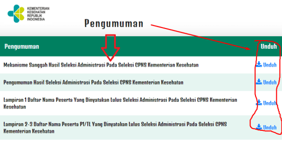 Hasil Seleksi Administrasi CPNS Kemenkes 2021