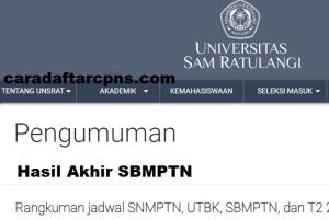 Pengumuman Hasil SBMPTN Universitas SAM RATULANGI Unsrat 2020 2021