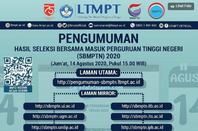 Pengumuman Hasil SBMPTN 14 Agustus 2020