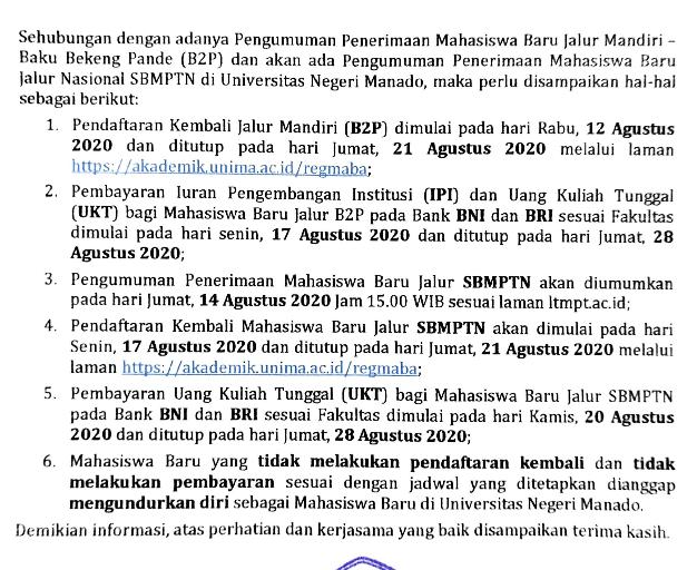 Pengumuman Hasil Seleksi Jalur Mandiri UNIMA 2020
