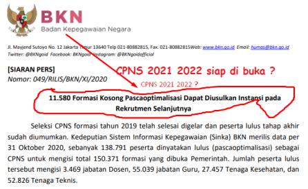 11.580 Formasi CPNS Kosong Akan Diusulkan Pendaftaran Selanjutnya