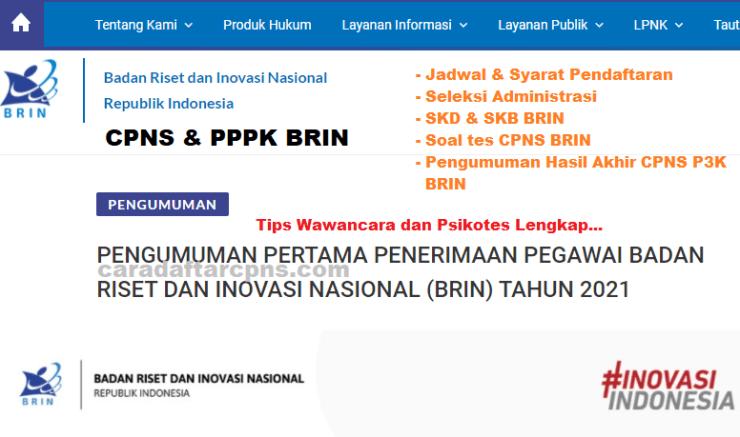 Pengumuman SKD CPNS BRIN 2021