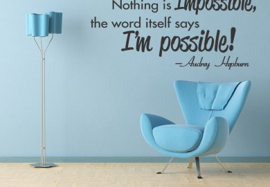 Audrey Hepburn Quote Impossible Inspirational Vinyl Wall Art