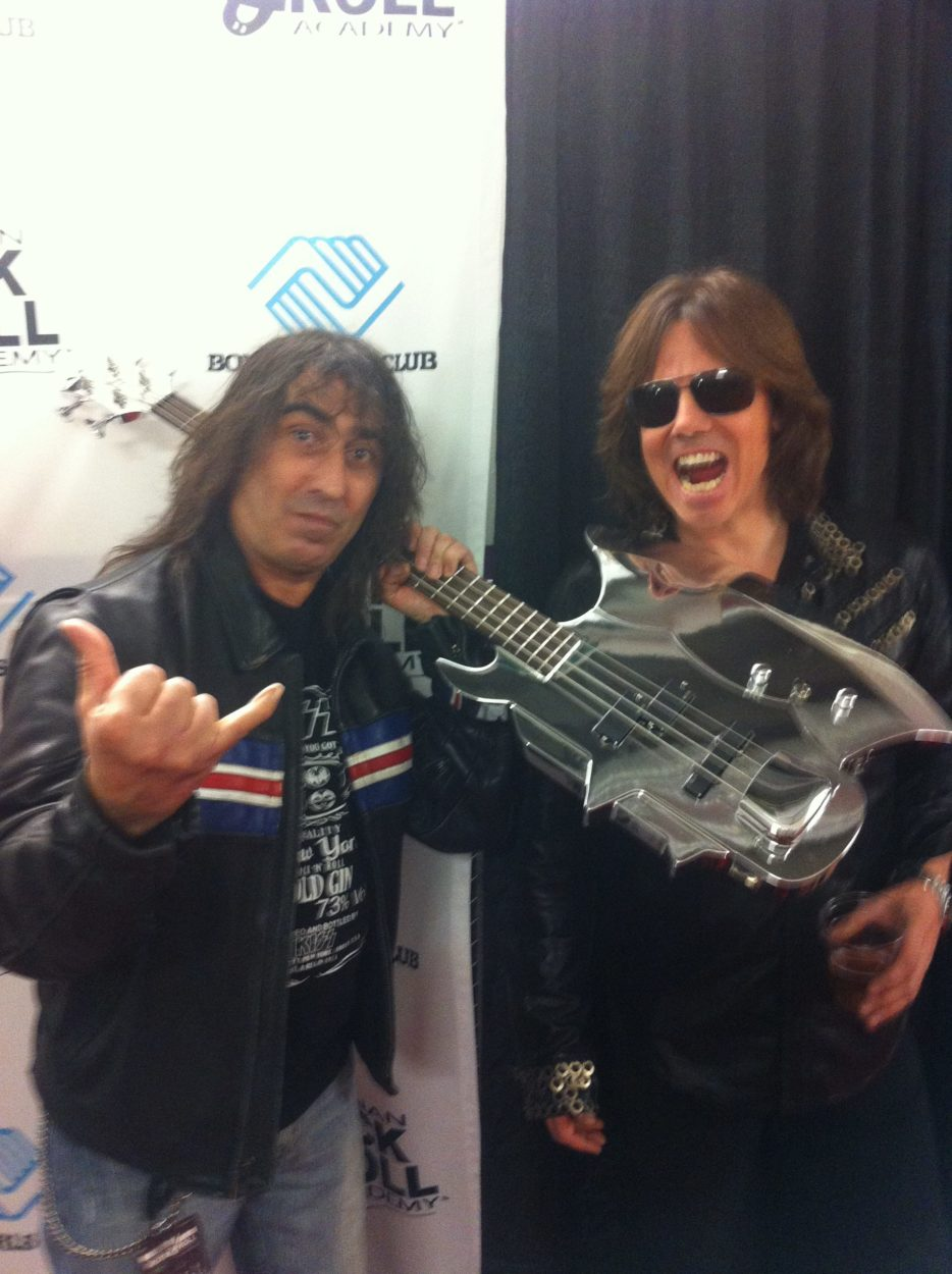Joey Tempest (Europe) and Jim Cara with a Simmons Axe