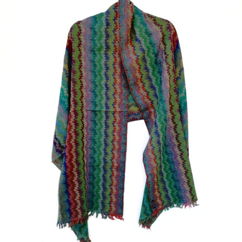 Rippled Rainbow Merino Wool Shawl