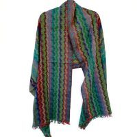 Rippled Rainbow Merino Wool Shawl