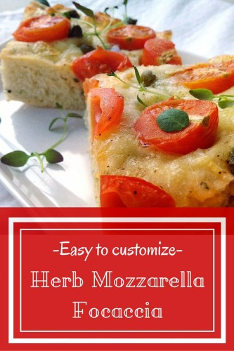Easy focaccia recipe for perfectly soft and juicy focaccia that is easy to customize with different toppings. Extra flavor from fresh herbs and creamy mozzarella cheese.