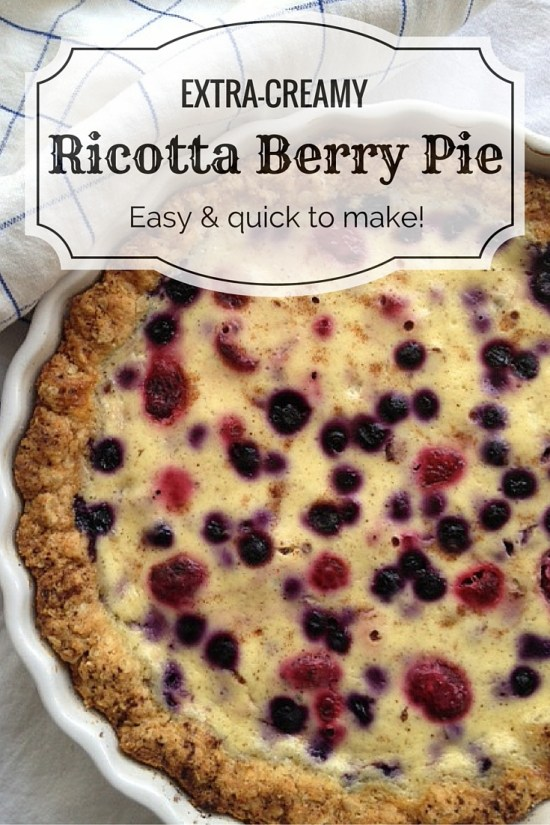 Creamy, rich ricotta cheese, a soft, crumbly crust and juicy berries - easy dessert recipe for an unforgettably delicious ricotta berry pie.