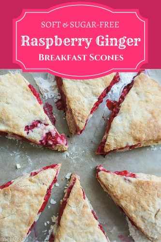 A really easy soft scones recipe that will give you the juiciest, most flavor-packed scones ever. Simple and quick breakfast recipe with no added sugar, with major flavor from raspberries and ginger.