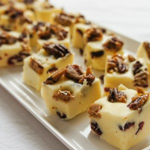 White Chocolate Cranberry Fudge with Caramelized pecans