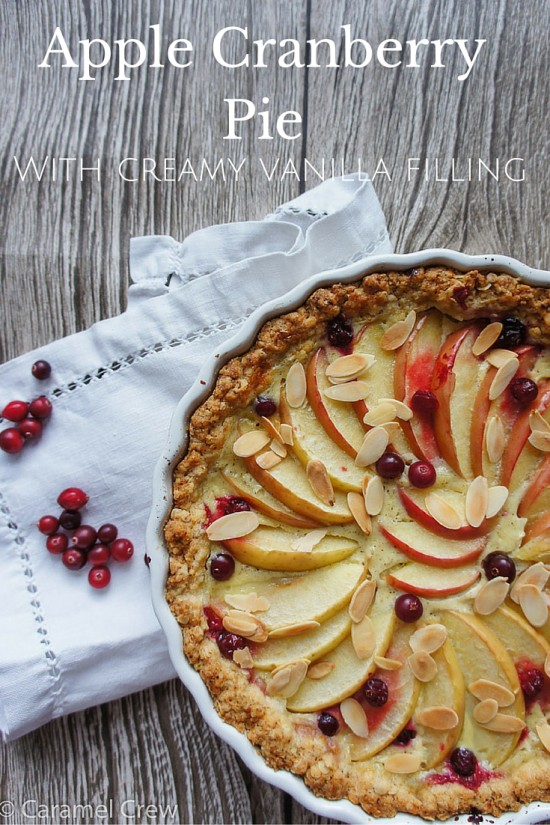 Creamy apple cranberry pie – the easiest pie ever to combine sweet apples, sour cranberries and vanilla-flavored cream filling. Perfect comfort food!