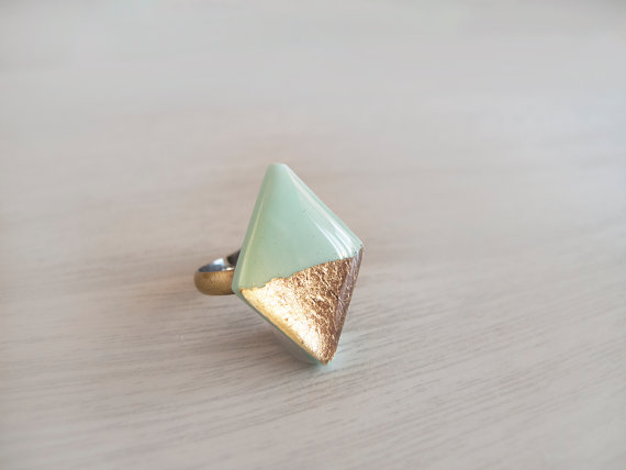 Gold foil accent jewelry by LamFaTiTa on Etsy