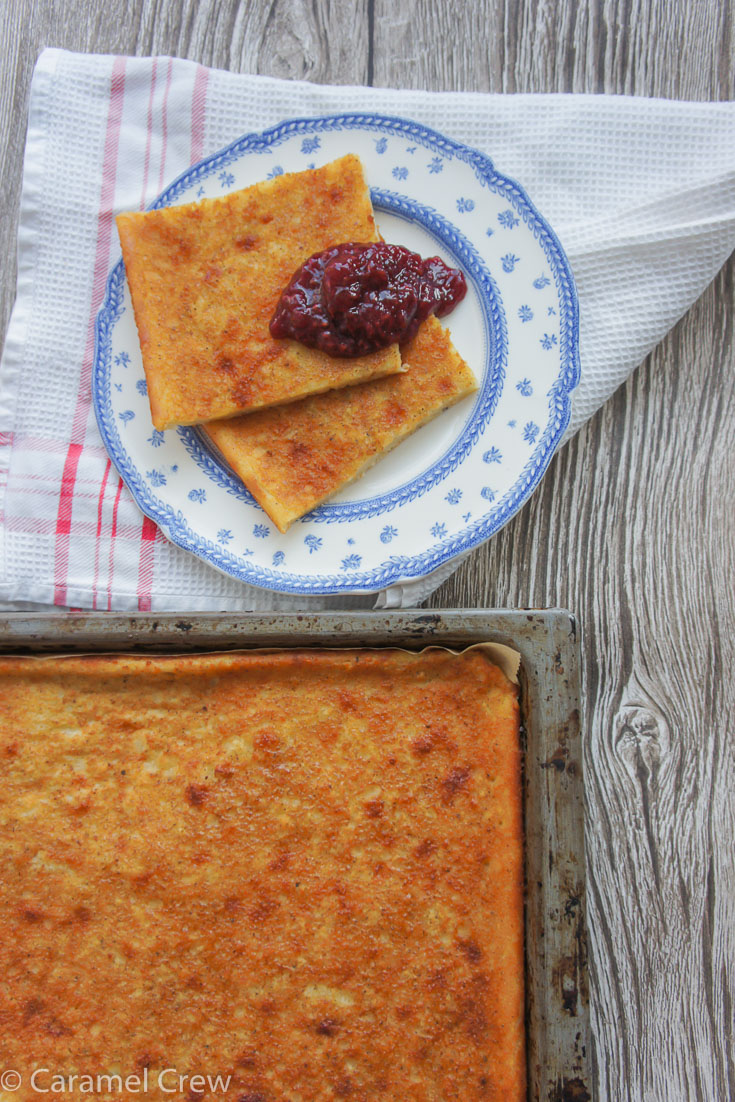 Scandinavian Sheet Pancake is a fun sweet treat that couldn't be easier to make - simple comfort food recipe for baked pancakes that taste like heaven with your favorite jam.