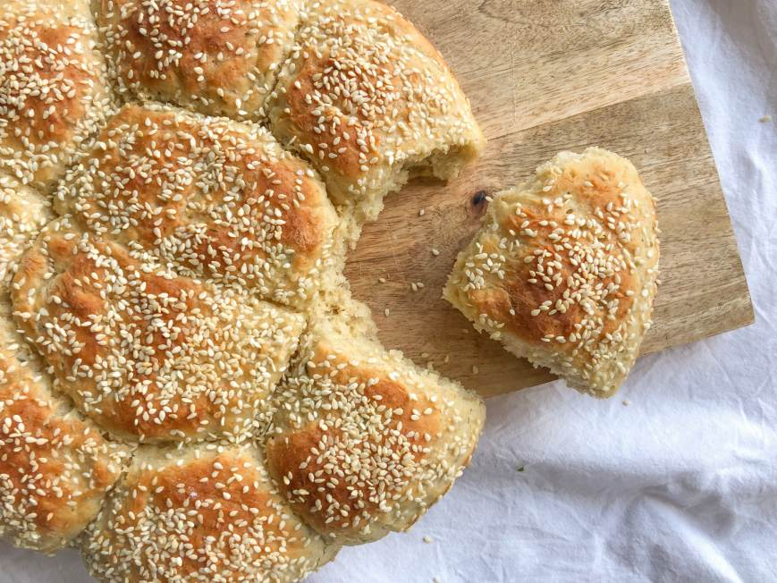 Easy pull-apart bread recipe with you favorite herbs and seeds. Super soft texture and easily customizable according to what ingredients you have handy.