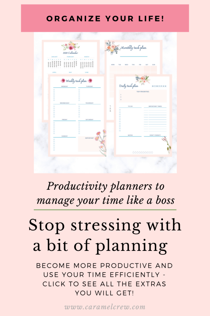 Stress less and be more productive by using planners that optimize your time for you. Detailed daily, weekly, monthly and annual planners make time management easy and fun!