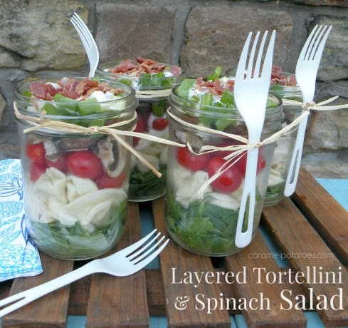 Layered Tortellini and Spinach Salad