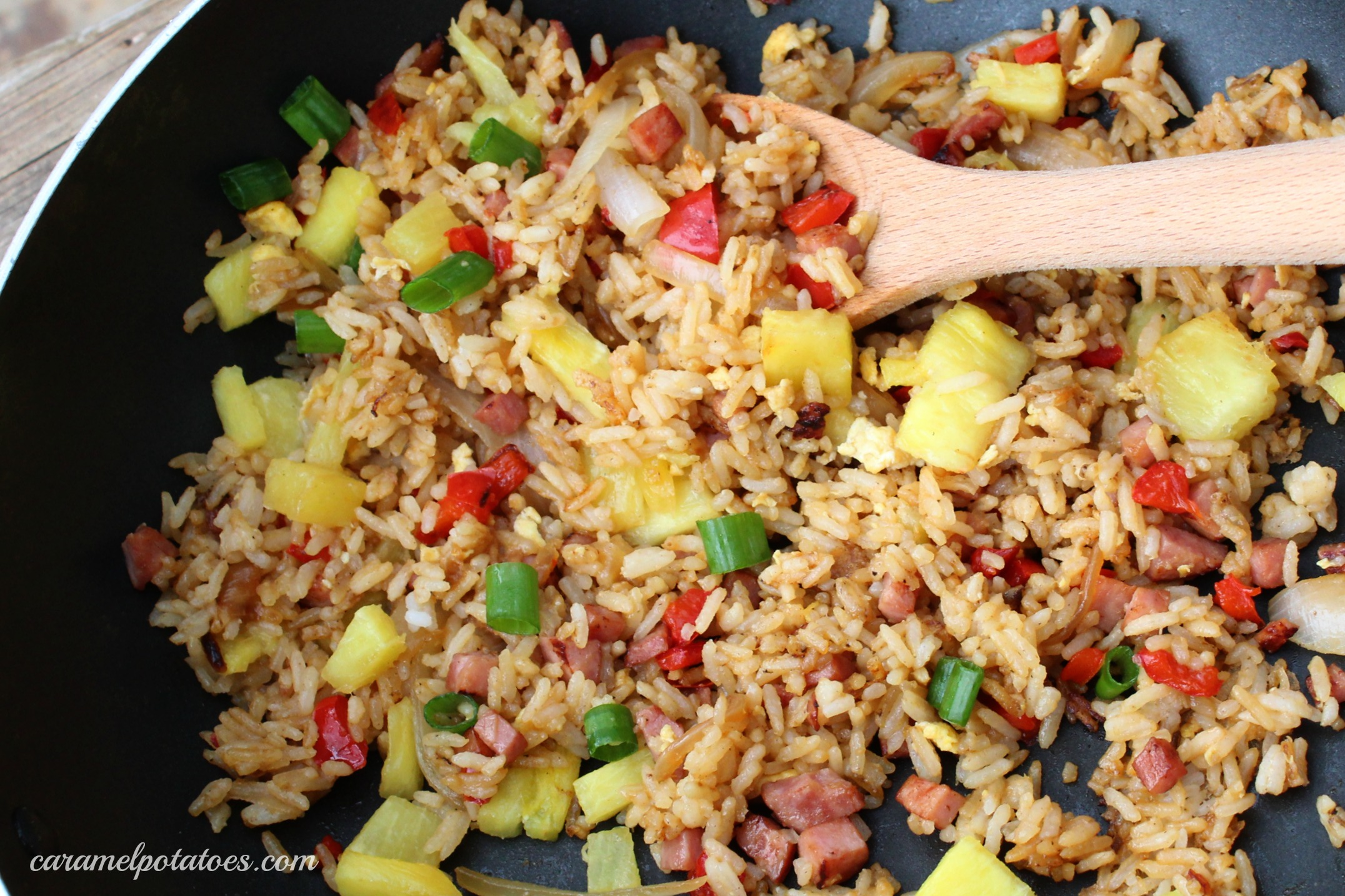 Caramel potatoes hawaiian fried rice this hawaiian fried rice combines the great sweet and salty combination of ham and pineapple with ginger garlic soy sauce and sriracha to make a wonderful ccuart Images