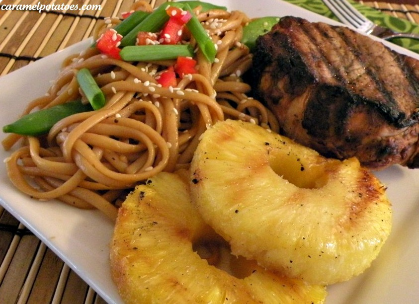 grilled teriyaki pork chops with sesame noodles