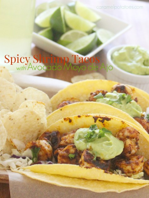 Spicy Shrimp Tacos with Avocado Moyo de Ajo