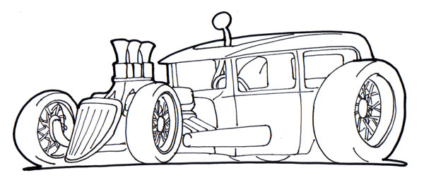 Street rod coloring page