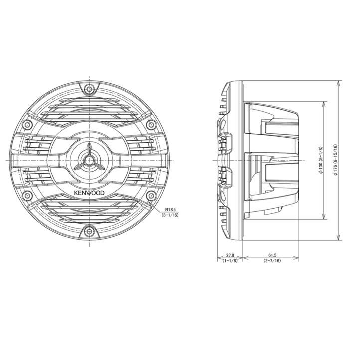 KFC-1653MRW 16cm 2-Way Flush Mount Marine Speakers 150w