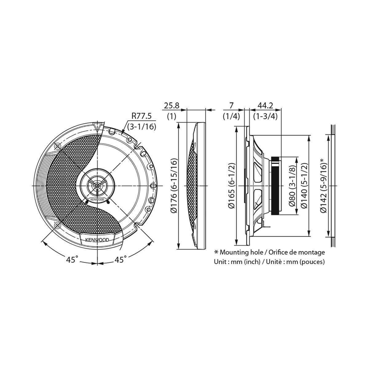 Kenwood Kfc S Stage Sound Series 17cm Flush Mount 2