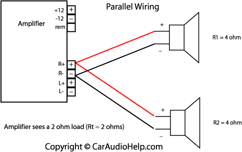 car stereo installation diagram 7 pin round trailer plug wiring australia ohm s law in audio parallel speaker