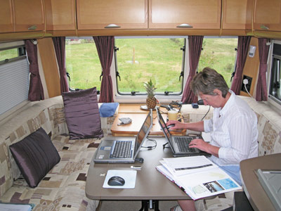 Liz hard at work in the Bailey caravan