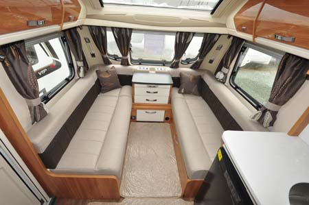 Swift Elegance 580 caravan interior seating