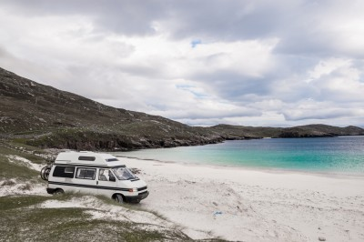 Motorhome on beach in the outer hebrides