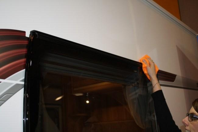 cleaning caravan window