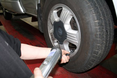 checking motorhome tyre pressure