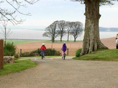 Children on bikes on holiday