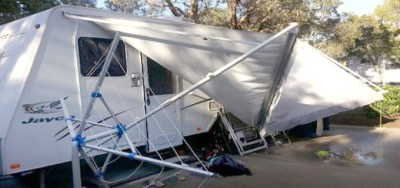 storm damaged caravan awning