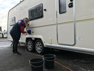 Cleaning caravan sides