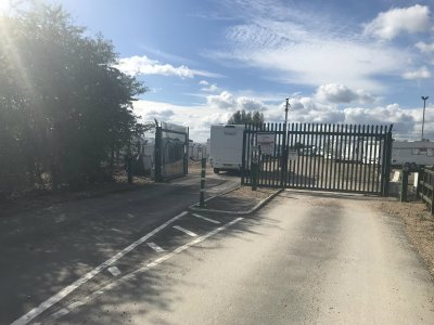 Electric gates at secure storage site
